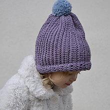 Detské čiapky - Merinová čiapočka...starofialová - 9062564_