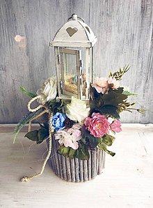 Dekorácie - Jarná dekorácia s lampášikom - 9060339_