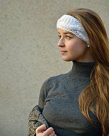 Ozdoby do vlasov - Bílá pletená čelenka s copy - 9061537_