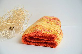 Čiapky - Háčkovaná melírovaná čepice-oranž - 9061618_