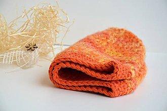 Čiapky - Horčicová háčkovanáčepice-mix oranž, žlutá - 9061686_