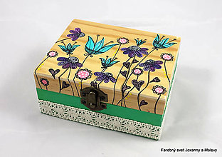 Krabičky - šperkovnica Rozkvitnutá tyrkysová - 9063226_