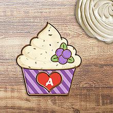 Grafika - Grafika na potlač jedlého papiera - ovocné koláčiky stracciatella (pásikavé košíčky) (čučoriedková) - 9059586_