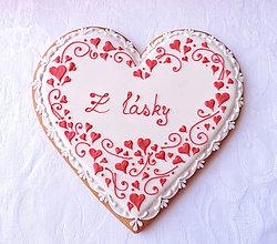 Dekorácie - Medovníkové Valentínske Z lásky - srdiečkové - 19 cm - 9066120_