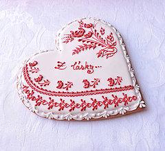Dekorácie - Medovníkové Valentínske Z lásky - 19 cm - 9066219_