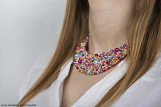 Náhrdelníky - Pestrofarebný perličkový náhrdelník - 9065289_