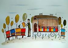 - Dom včelár ilustrácia / originál maľba  - 9066887_