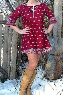 Šaty - Košeľošaty Bordúra Folk bordové - 9067078_