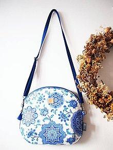 Kabelky - Stredná kabelka - mandaly v modrobielej - 9066721_