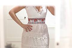 Opasky - Svadobný exkluzívny ľudový opasok biely - 9064147_