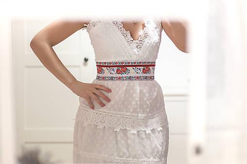 Svadobný exkluzívny ľudový opasok biely