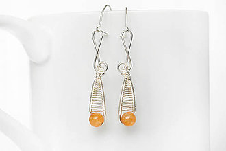 Náušnice - vypletané kvapky s oranžovým jadeitom Ag - 9068698_
