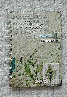 Papiernictvo - Vintage / nature NOTES/ Diár/ zápisník - 9065477_