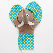 Hračky - Maňuška sloník - VÝPREDAJ (Tyrkysová) - 9068489_
