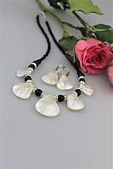 Luxusný plesový set - náhrdelník náušnice ónyx, perleť, striebro....