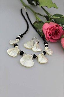 Sady šperkov - Luxusný plesový set - náhrdelník náušnice ónyx, perleť, striebro.... - 9064748_