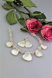 Sady šperkov - Plesový set - náhrdelník a náušnice ruženín, perleť, striebro.... - 9068401_