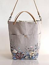 Veľké tašky - Kvetinová dámska ľanová kabelka s ručnou maľbou