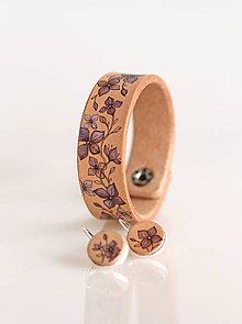 Náramky - Elegantný kožený náramok a náušnice s ručnou maľbou