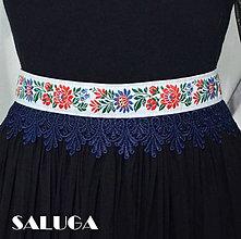 Opasky - Folklórny opasok - dámsky - folk - ľudový - biely s modrým - 9067829_