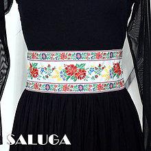 Opasky - Folklórny opasok biely - 10 cm široký - 9067989_
