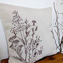 Úžitkový textil - Prírodný vankúš trávy - maľovaný farbami na textil - 9065708_