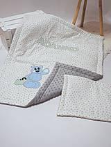 Textil - Detská MINKY deka s našitým menom - 9064237_
