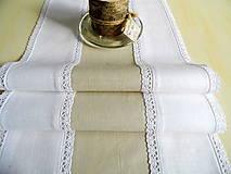 Úžitkový textil - ľanová štóla béžovo biela s krajkou 3 -obrus  - 9064828_