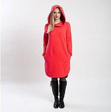 Šaty - Teplákové mikino-šaty červené - 9064273_