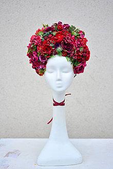 Ozdoby do vlasov - Vínovo-červená kvetinová parta - 9067633_