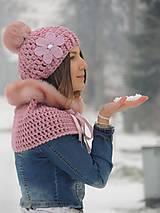Detské čiapky - Staroružová baretka a kožušinový nákrčník - 9067739_