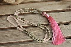 - Náhrdelník Japa Mala z minerálov ruženín, labradorit - 9067647_