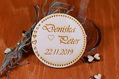 Darčeky pre svadobčanov - Svadobná magnetka drevená gravírovaná 138 - 9064524_