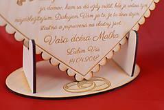 Darčeky pre svadobčanov - Poďakovanie rodičom drevené srdiečko  43 - 9066345_