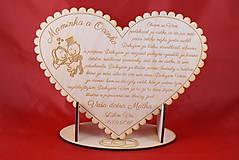 Darčeky pre svadobčanov - Poďakovanie rodičom drevené srdiečko  43 - 9066350_
