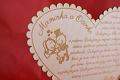 Darčeky pre svadobčanov - Poďakovanie rodičom drevené srdiečko  43 - 9066352_