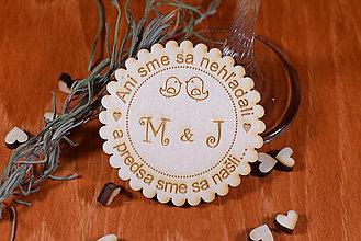 Darčeky pre svadobčanov - Svadobná magnetka drevená gravírovaná 137 - 9064522_