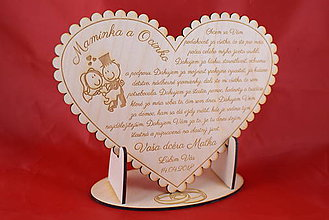 Darčeky pre svadobčanov - Poďakovanie rodičom drevené srdiečko  43 - 9066347_