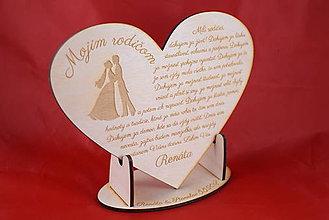 Darčeky pre svadobčanov - Poďakovanie rodičom drevené srdiečko  44 - 9066392_