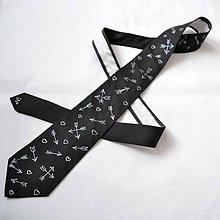 Doplnky - Decentní černá valentýnská kravata - 9067797_