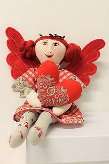 Dekorácie - slečna MARA anjelská / červenorežná - 9064984_