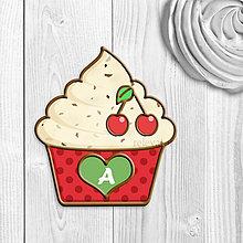 Dekorácie - Grafika na potlač jedlého papiera - ovocné koláčiky stracciatella (bodkované košíčky) (čerešňová) - 9067809_