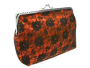Kabelky - Čipková oranžová kabelka, dámská taštička  05204A (Oranžová) - 9073609_