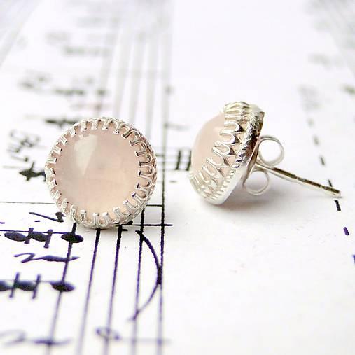 Náušnice - Simple Vintage Rose Quartz Earrings Silver Ag 925 / Napichovacie náušnice s ruženínom - 9069297_