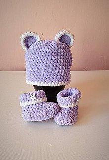 Detské súpravy - Set čiapočka myšacia + papučky- malá myška - 9071830_