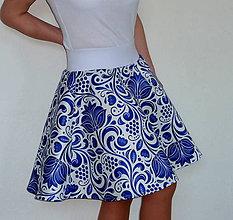 Sukne - Sukňa Modrý folk satén krátka A - 9069256_