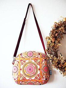 Kabelky - Stredná kabelka - hippie v ružovo-žltej - 9071587_