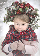 Ozdoby do vlasov - Zimná veľká kvetinová čelenka pre dospelých - 9073627_
