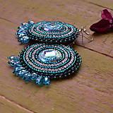 Náušnice - Teal earrings - vyšívané náušnice - 9071764_