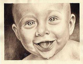 Obrazy - Dieťatko II. - akvarelový portrét - 9070181_